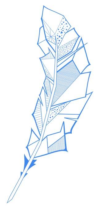 Logo mit blauer futuristischer Feder von Cem David Sunguroglu